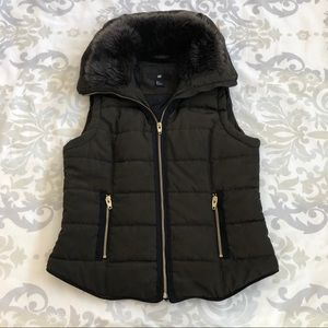 Olive Puffer Vest with Fur Lining and Zipper Hood